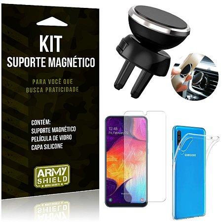 Suporte Magnético Galaxy A50 Suporte + Capa Silicone + Película Vidro - Armyshield