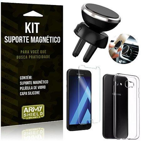 Suporte Magnético Galaxy A5 (2017) Suporte + Capa Silicone + Película Vidro - Armyshield
