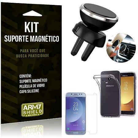 Suporte Magnético Galaxy J7 Pro (2017) Suporte + Capa Silicone + Película Vidro - Armyshield