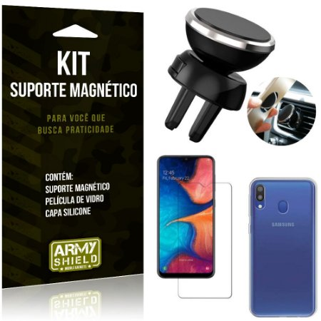 Suporte Magnético Galaxy M20 Suporte + Capa Silicone + Película Vidro - Armyshield