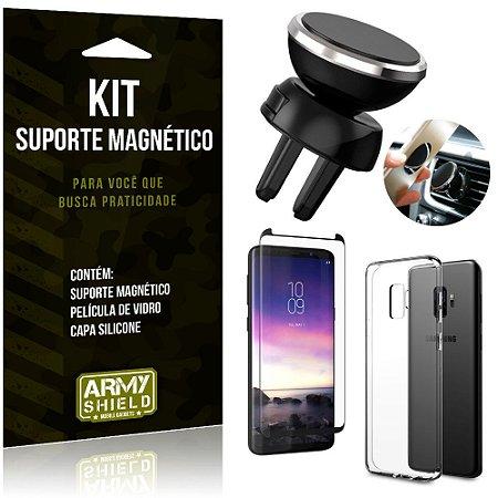 Suporte Magnético Galaxy S9 Suporte + Capa Silicone + Película Vidro - Armyshield