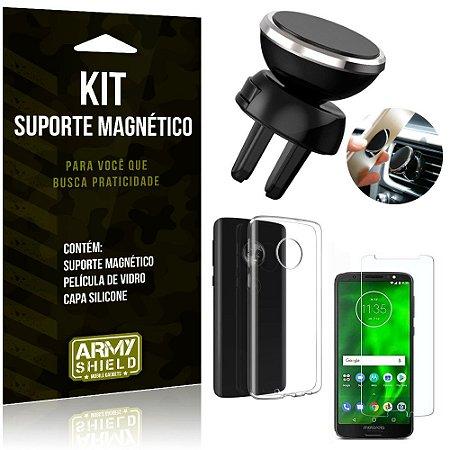 Suporte Magnético Motorola Moto G6 Plus Suporte + Capa Silicone + Película Vidro - Armyshield