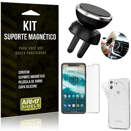 Suporte Magnético Motorola Moto One Suporte + Capa Silicone + Película Vidro - Armyshield