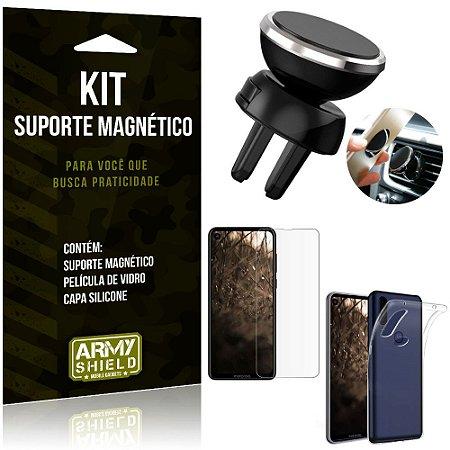 Suporte Magnético Motorola Moto One Vision Suporte + Capa Silicone + Película Vidro - Armyshield