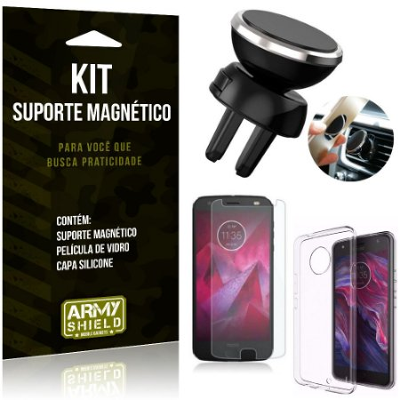 Suporte Magnético Motorola Moto X4 Suporte + Capa Silicone + Película Vidro - Armyshield