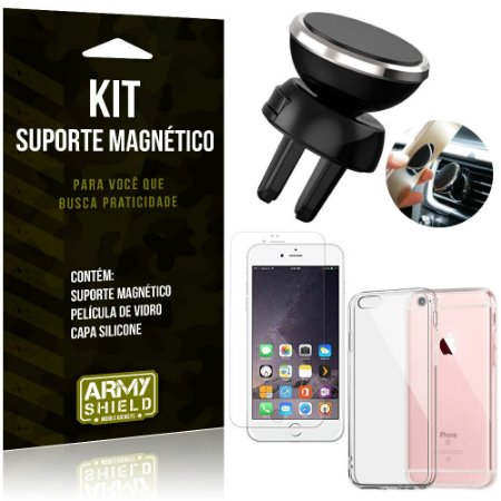 Suporte Magnético Apple iPhone 6 - 6S Suporte + Capa Silicone + Película Vidro - Armyshield