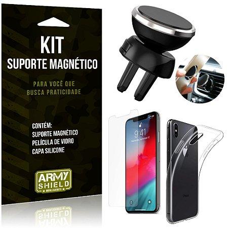 Suporte Magnético Apple iPhone XS Max 6.5 Suporte + Capa Silicone + Película Vidro - Armyshield