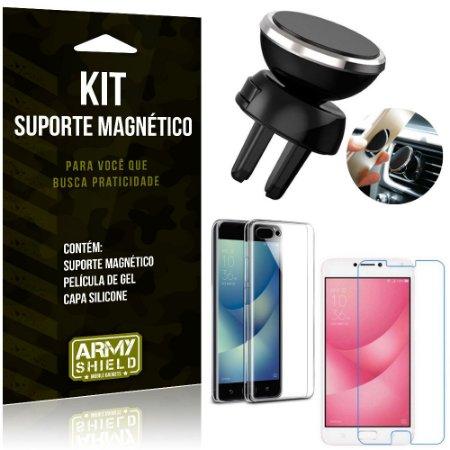 Suporte Magnético Zenfone 4 Max ZC554KL Suporte + Capa Silicone + Película Gel - Armyshield