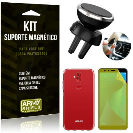 Suporte Magnético Zenfone 5 Selfie ZC600KL Suporte + Capa Silicone + Película Gel - Armyshield