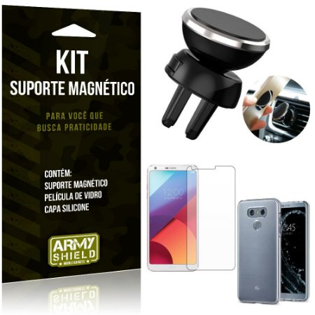 Suporte Magnético LG G6 Suporte + Capa Silicone + Película Vidro - Armyshield