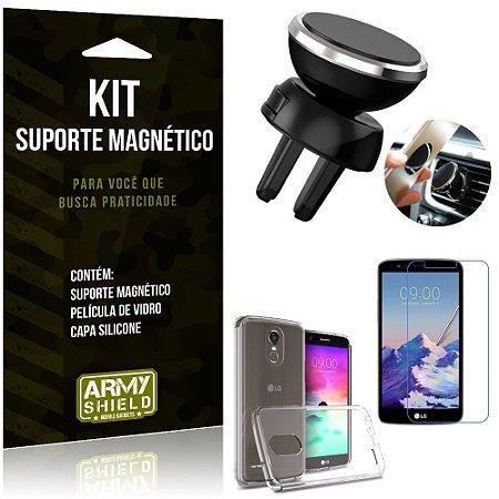 Suporte Magnético LG K10 Pro Suporte + Capa Silicone + Película Vidro - Armyshield