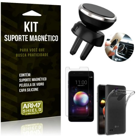 Suporte Magnético LG K11 Plus Suporte + Capa Silicone + Película Vidro - Armyshield