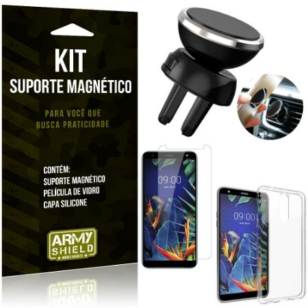 Suporte Magnético LG K12 Plus Suporte + Capa Silicone + Película Vidro - Armyshield