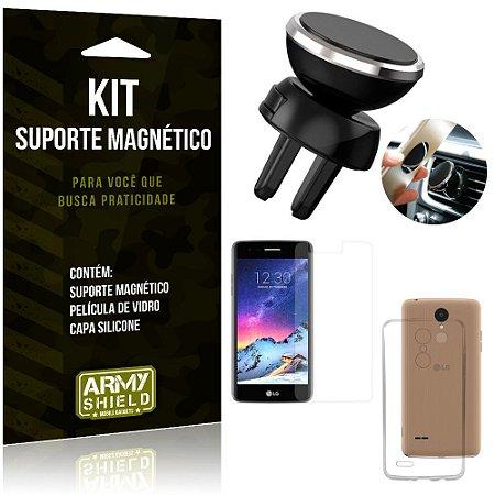 Suporte Magnético LG K8 Novo Suporte + Capa Silicone + Película Vidro - Armyshield