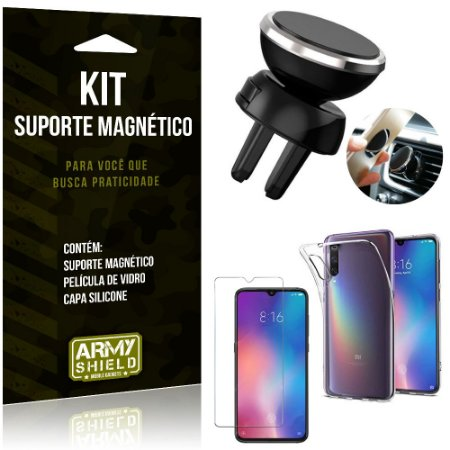 Suporte Magnético Xiaomi Mi 9 Suporte + Capa Silicone + Película Vidro - Armyshield