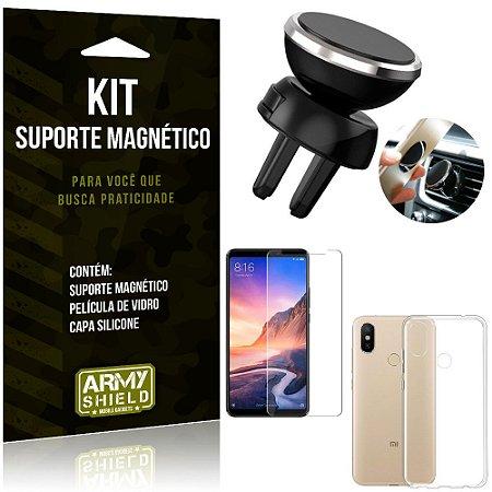 Suporte Magnético Xiaomi Mi Max 3 Suporte + Capa Silicone + Película Vidro - Armyshield