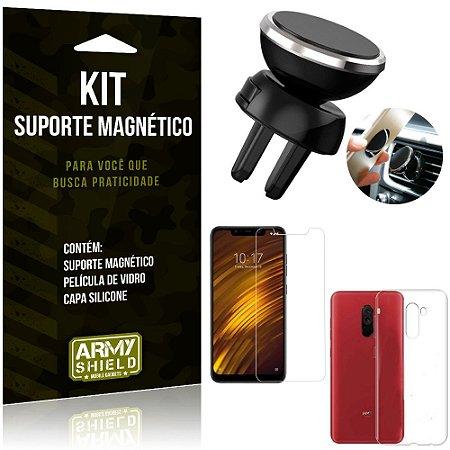 Suporte Magnético Xiaomi Pocophone F1 Suporte + Capa Silicone + Película Vidro - Armyshield