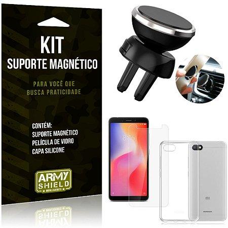 Suporte Magnético Xiaomi Redmi 6A Suporte + Capa Silicone + Película Vidro - Armyshield