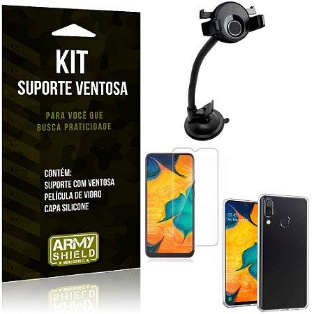 Suporte Ventosa Auto Galaxy A20 Suporte + Capa Silicone + Película Vidro - Armyshield