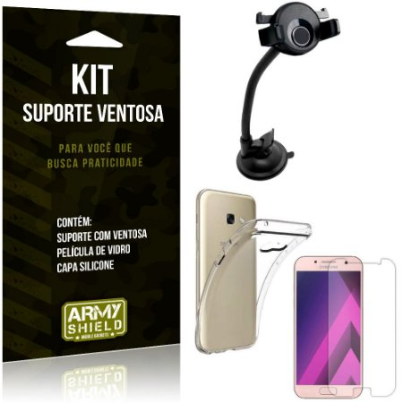 Suporte Ventosa Auto Galaxy A3 (2017) Suporte + Capa Silicone + Película Vidro - Armyshield