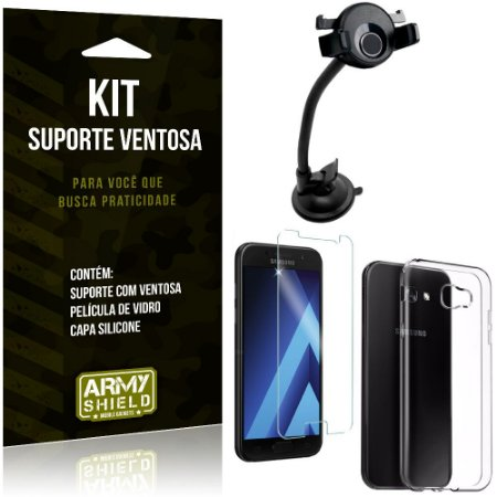 Suporte Ventosa Auto Galaxy A5 (2017) Suporte + Capa Silicone + Película Vidro - Armyshield