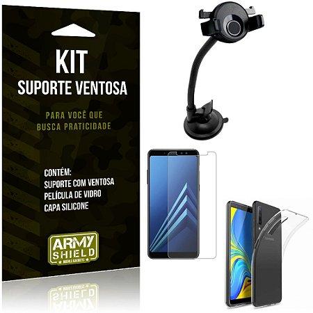 Suporte Ventosa Auto Galaxy A7 (2018) Suporte + Capa Silicone + Película Vidro - Armyshield