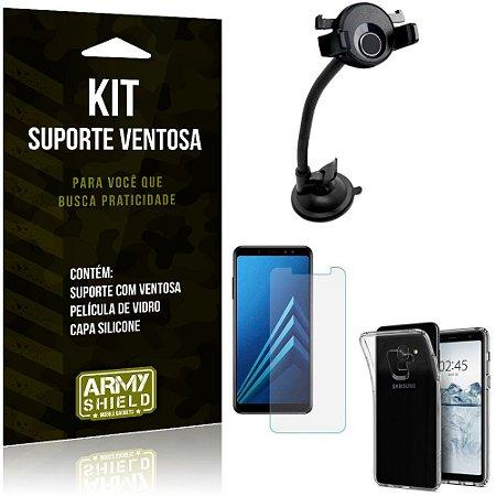 Suporte Ventosa Auto Galaxy A8 Plus Suporte + Capa Silicone + Película Vidro - Armyshield