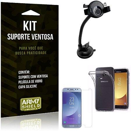 Suporte Ventosa Auto Galaxy J5 Pro (2017) Suporte + Capa Silicone + Película Vidro - Armyshield