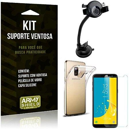 Suporte Ventosa Auto Galaxy J6 (2018) Suporte + Capa Silicone + Película Vidro - Armyshield