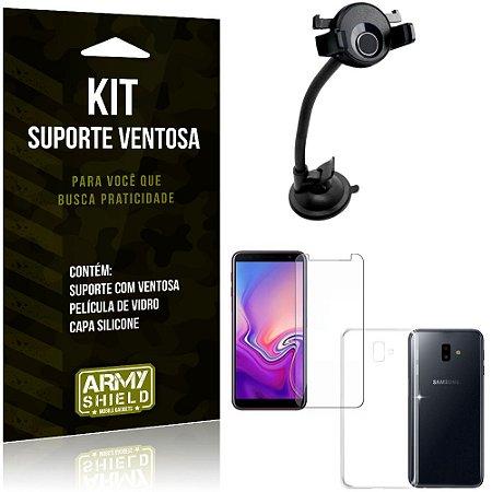 Suporte Ventosa Auto Galaxy J6 Plus (2018) Suporte + Capa Silicone + Película Vidro - Armyshield