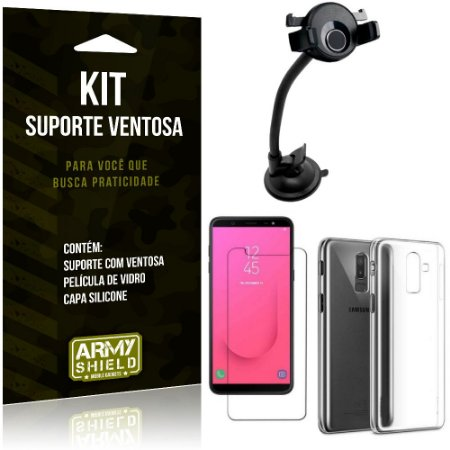 Suporte Ventosa Auto Galaxy J8 (2018) Suporte + Capa Silicone + Película Vidro - Armyshield