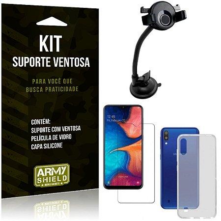 Suporte Ventosa Auto Galaxy M10 Suporte + Capa Silicone + Película Vidro - Armyshield