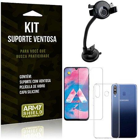 Suporte Ventosa Auto Galaxy M30 Suporte + Capa Silicone + Película Vidro - Armyshield