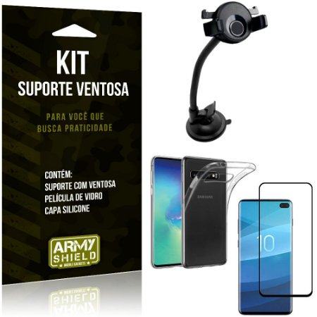 Suporte Ventosa Auto Galaxy S10 Plus Suporte + Capa Silicone + Película Vidro - Armyshield