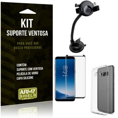 Suporte Ventosa Auto Galaxy S8 Suporte + Capa Silicone + Película Vidro - Armyshield