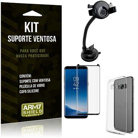 Suporte Ventosa Auto Galaxy S8 Plus Suporte + Capa Silicone + Película Vidro - Armyshield