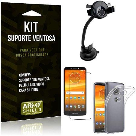 Suporte Ventosa Auto Motorola Moto E5 Plus Suporte + Capa Silicone + Película Vidro - Armyshield