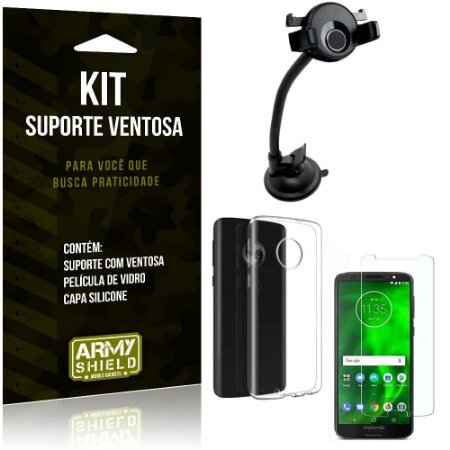 Suporte Ventosa Auto Motorola Moto G6 Plus Suporte + Capa Silicone + Película Vidro - Armyshield