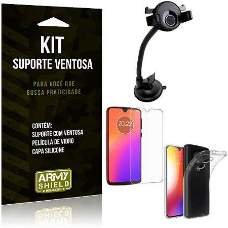 Suporte Ventosa Auto Motorola Moto G7 Plus Suporte + Capa Silicone + Película Vidro - Armyshield