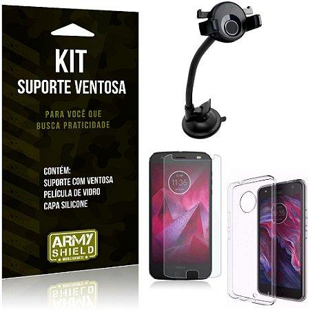 Suporte Ventosa Auto Motorola Moto X4 Suporte + Capa Silicone + Película Vidro - Armyshield