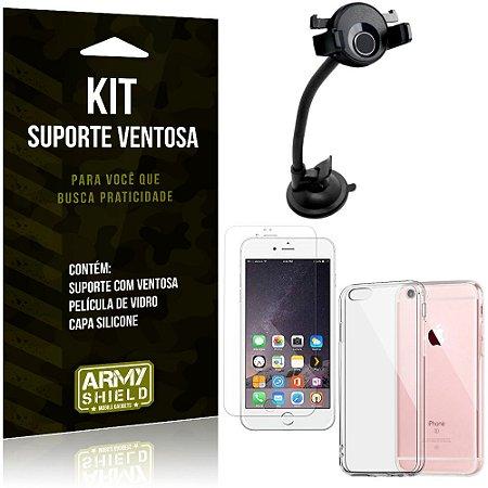 Suporte Ventosa Auto Apple iPhone 6 6S Plus Suporte + Capa Silicone +Película Vidro - Armyshield
