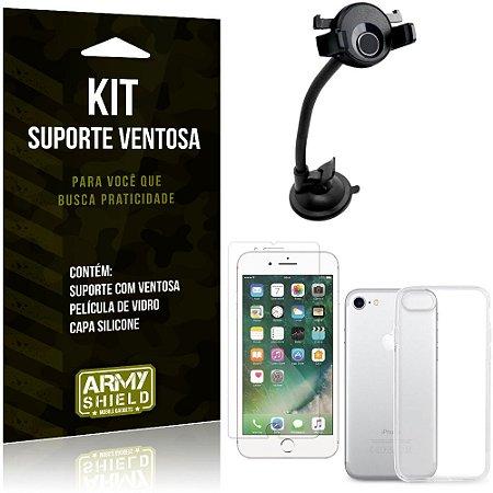 Suporte Ventosa Auto Apple iPhone 8 Suporte + Capa Silicone + Película Vidro - Armyshield