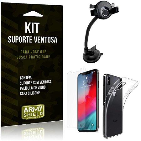 Suporte Ventosa Auto Apple iPhone XS 5.8 Suporte + Capa Silicone + Película Vidro - Armyshield