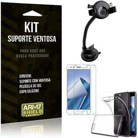 Suporte Ventosa Auto Zenfone 4 - 5.5' ZE554KL Suporte + Capa Silicone +Película Gel - Armyshield