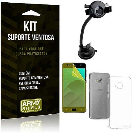 Suporte Ventosa Auto Zenfone 4 Selfie ZD553KL Suporte + Capa Silicone +Película Gel - Armyshield