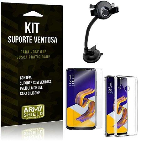 Suporte Ventosa Auto Zenfone 5Z ZS620KL Suporte + Capa Silicone + Película Gel - Armyshield