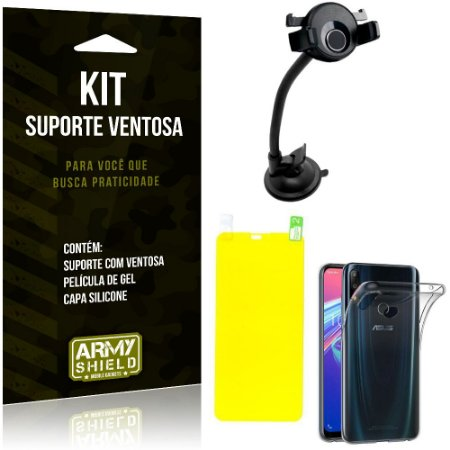 Suporte Ventosa Auto Zenfone Max Pro M2 ZB631KL Suporte + Capa + Película Gel - Armyshield