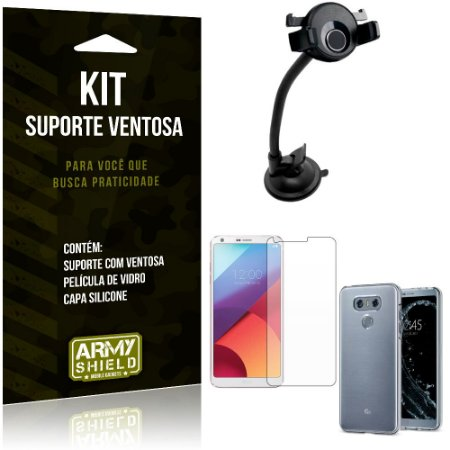Suporte Ventosa Auto LG G6 Suporte + Capa Silicone + Película Vidro - Armyshield