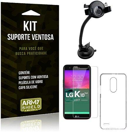 Suporte Ventosa Auto LG K10 Novo Suporte + Capa Silicone + Película Vidro - Armyshield