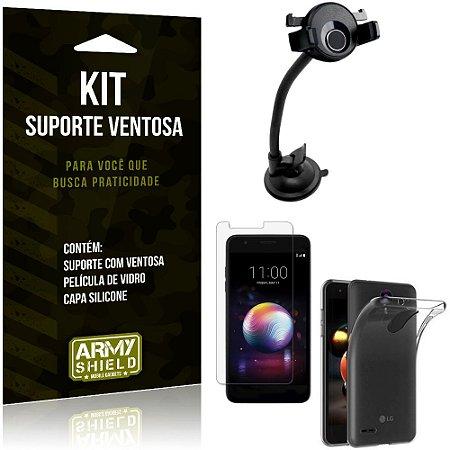 Suporte Ventosa Auto LG K11 Plus Suporte + Capa Silicone + Película Vidro - Armyshield